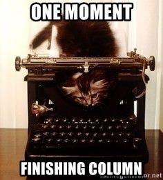 Milo, Kitten Writer - One moment finishing column