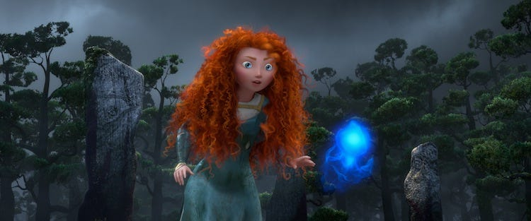 Merida meets a will-o'-the-wisp ©Disney/Pixar