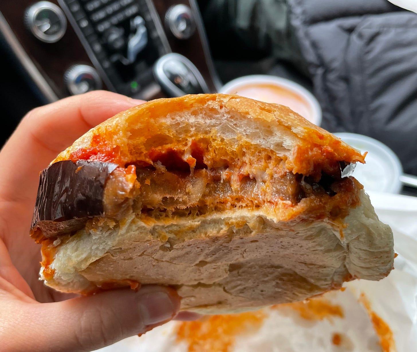 Ferdinando's Focacceria's eggplant alla Siciliana sandwich