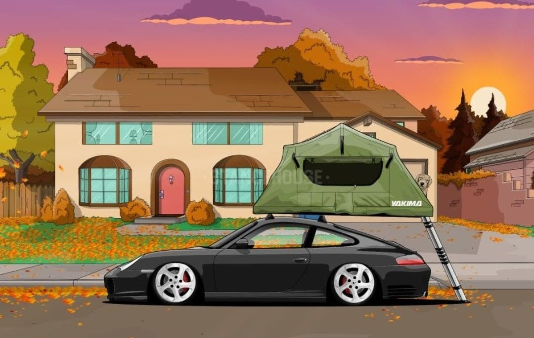 Sports car with roof top tent