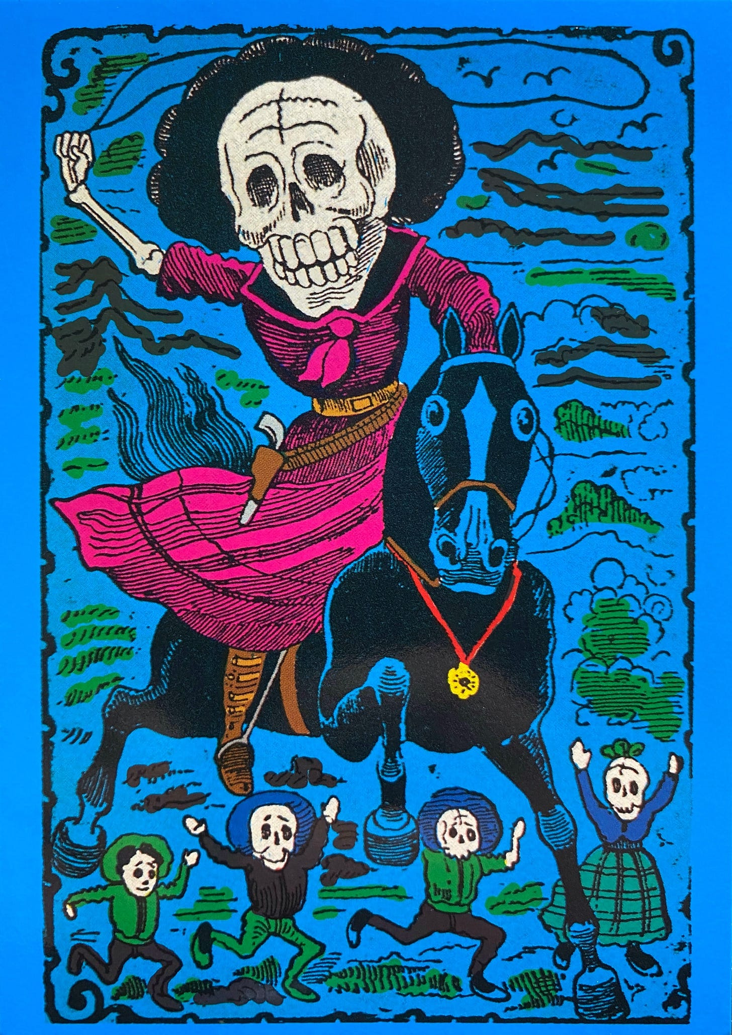 A skeleton wearing a dress with a holster on their hip with a revolver, while riding a black horse with a medal on it's chest. The rider is cheered by 4 skeletons, with their arms raised.