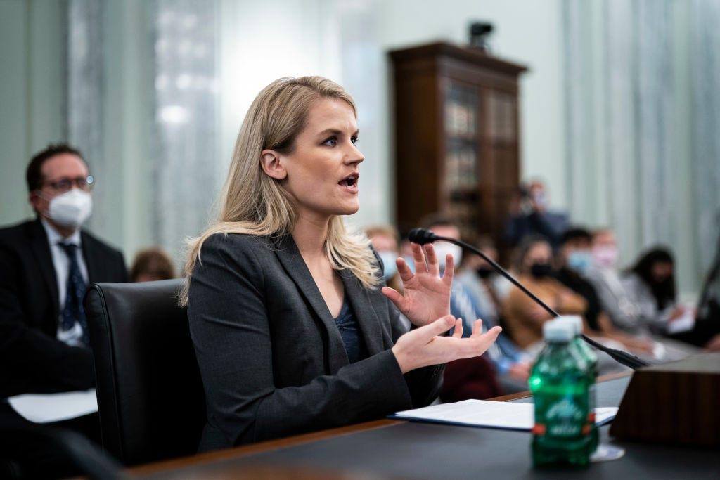 Facebook whistleblower Frances Haugen testifies during a Senate hearing Tuesday in Washington, DC. (Jabin Botsford-Pool / Getty Images)
