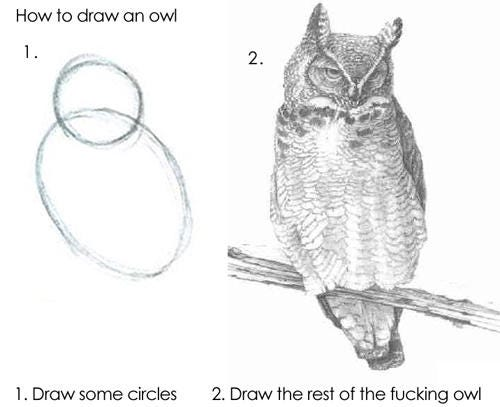 How to draw an owl 1. 2. 1. Draw some circles 2. Draw the rest of the fucking owl Owl owl bird bird of prey fauna vertebrate beak drawing
