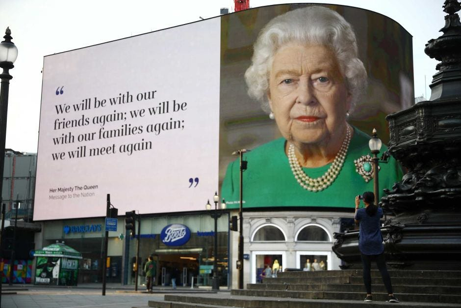 A message from the Queen in Piccadilly Circus - ABC News ...