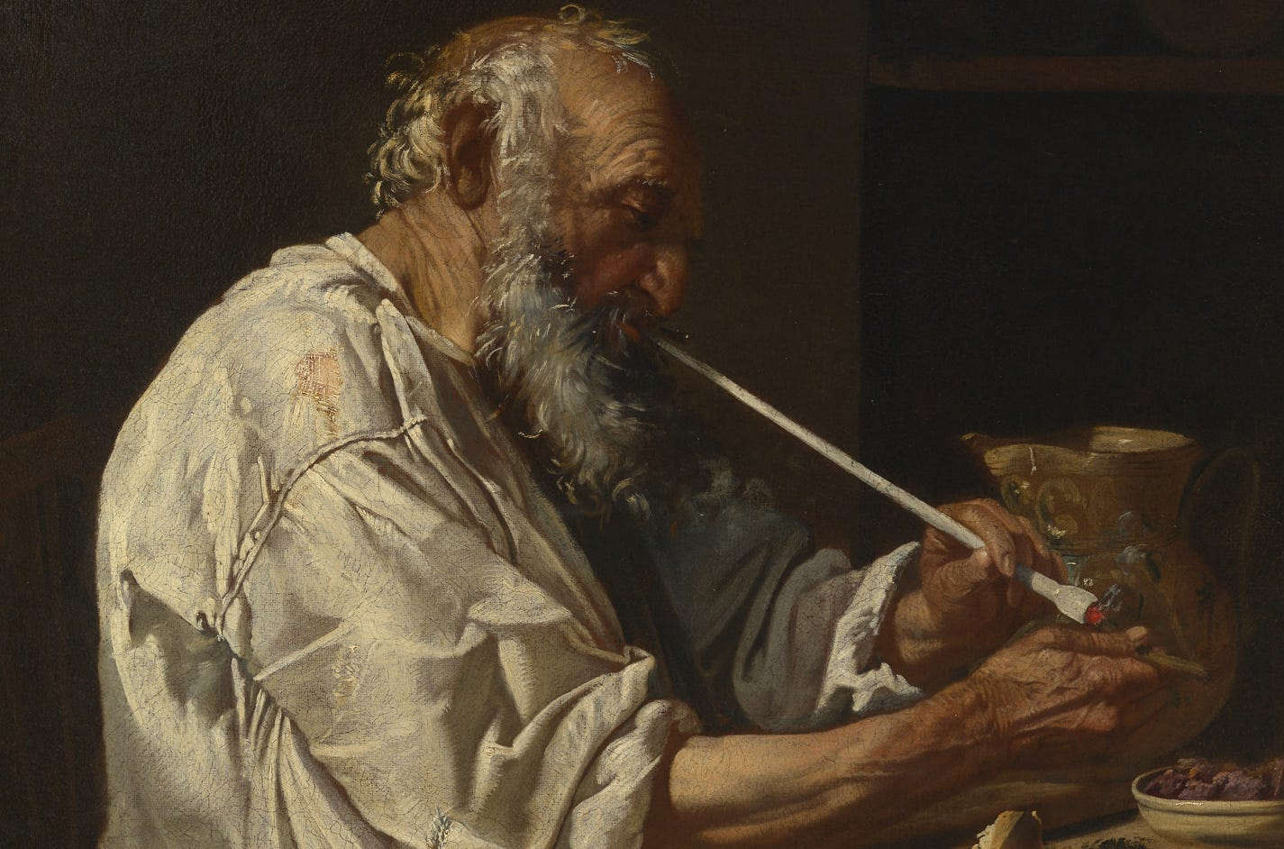 Old wizard smoking a pipe