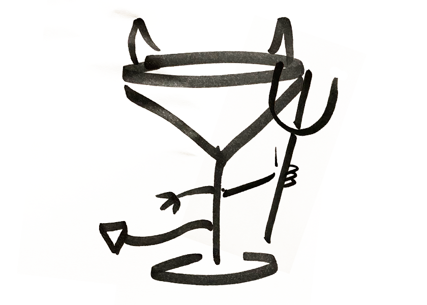 An anthropomorphic cocktail glass with devil horns and a pitchfork