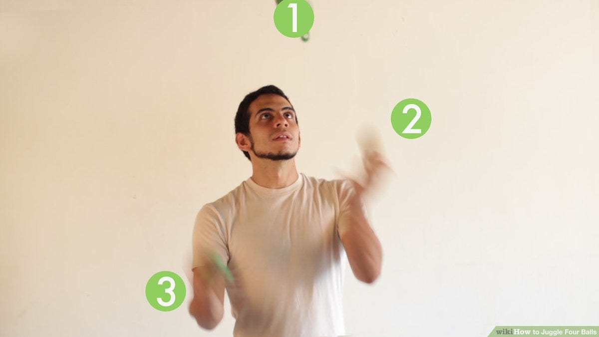 How to Juggle Four Balls: 8 Steps (with Pictures) - wikiHow
