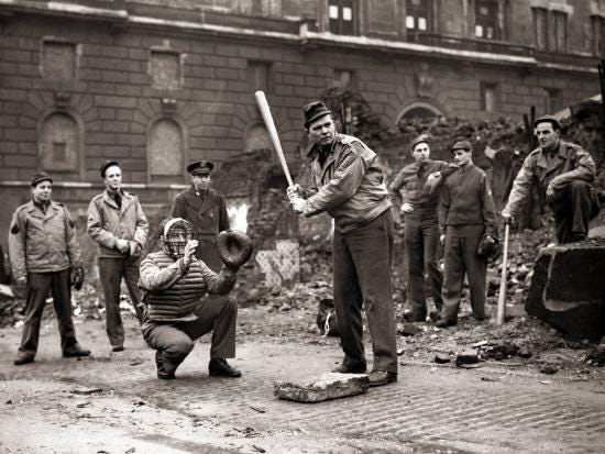 15 American Soldiers Playing Baseball Amid the Ruins of Liverpool, England  1943' Photographic Print | Art.com