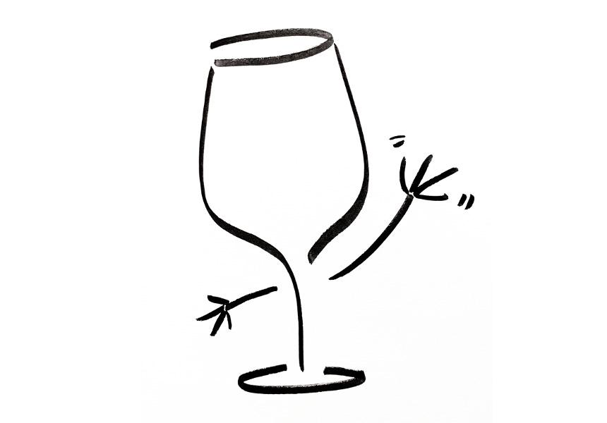 Anthropomorphic wine glass waving hello