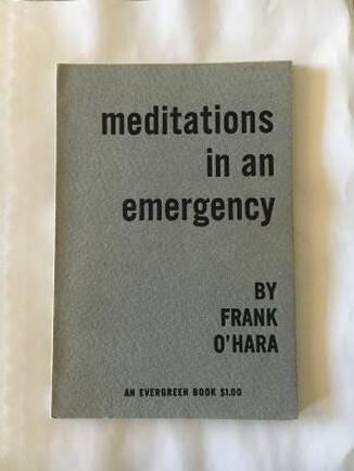 A Grove Press first edition of Frank O'Hara's Meditations in an Emergency like the one Don reads in Season 2 of Mad Men