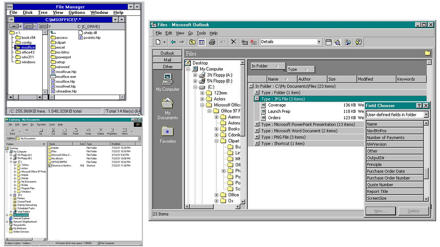 Three Windows screenshots. Windows 3.1 file manager, Windows 95 Explorer, and Outlook viewing files.