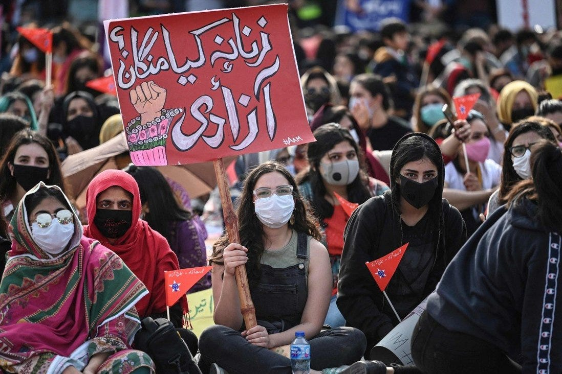 Woman at the Aurat March in Islamabad mark International Women's Day. Photo: AFP