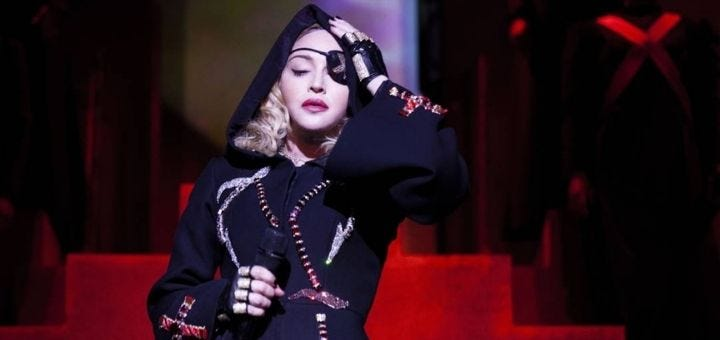 Screenshot of Madonna, with eye patch, from the Madame X documentary