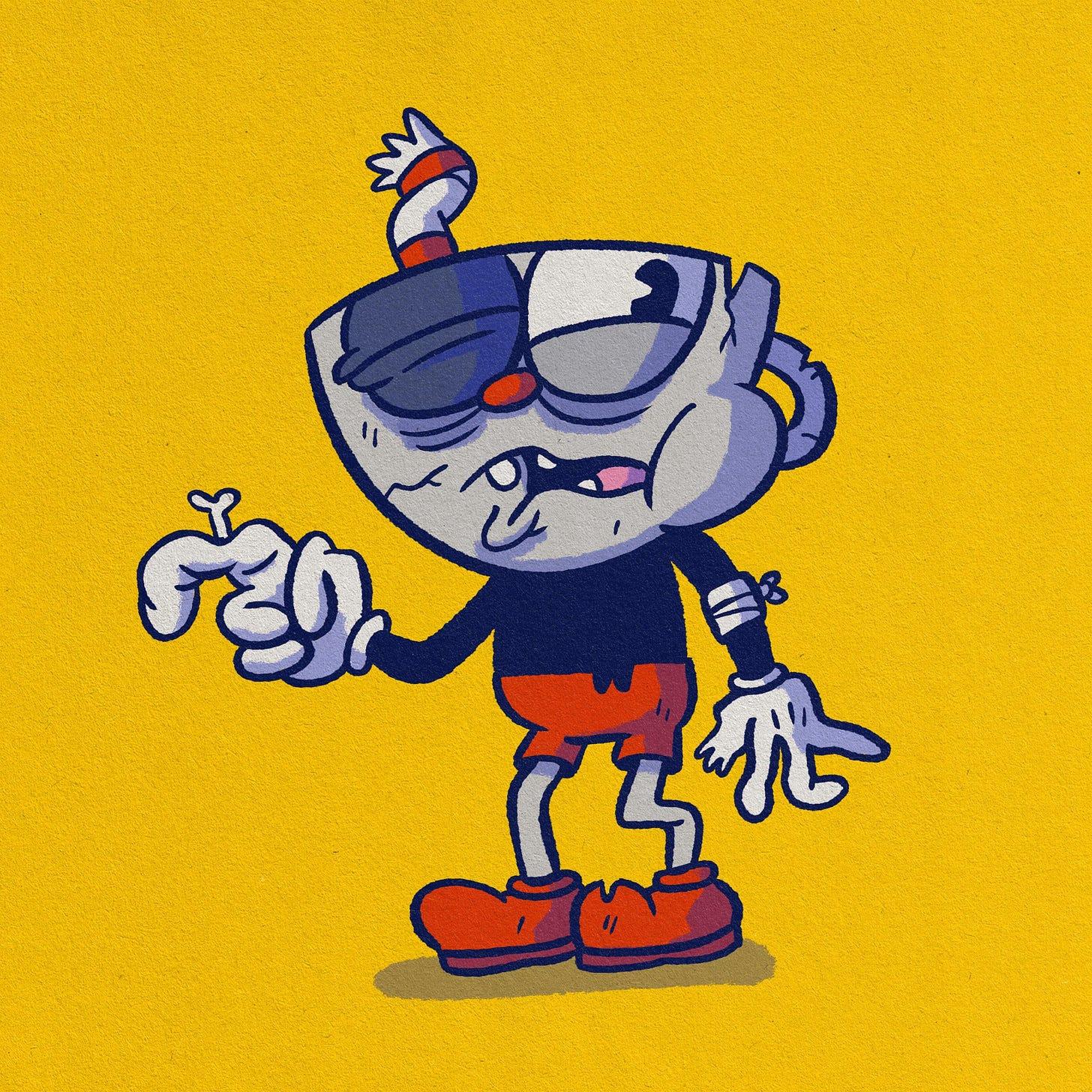 Cuphead illustration, represente un personnage qui en pris plein la figure
