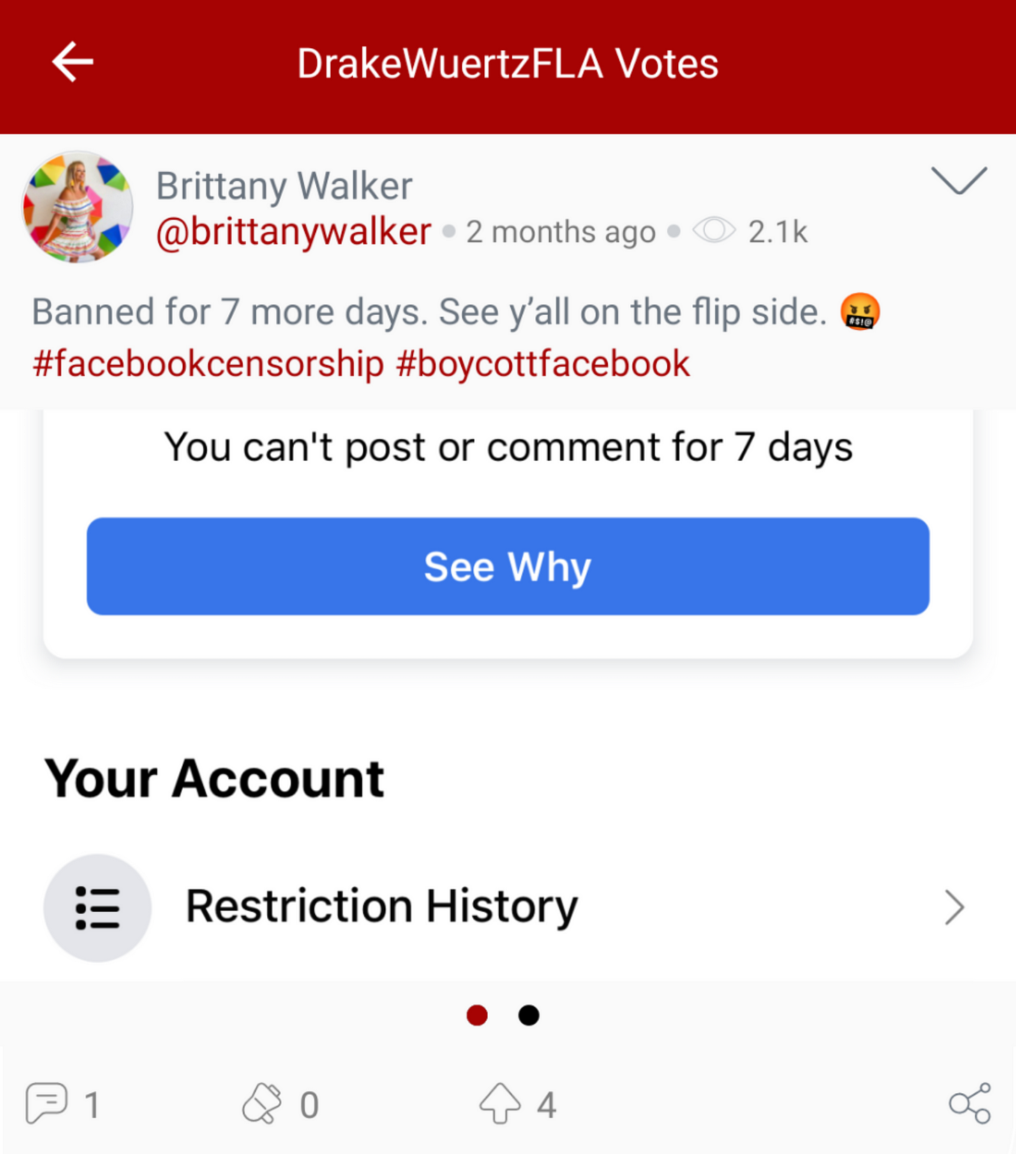 "Drake Wuertz ""votes"" Brittany Walker complaining about her Facebook suspension. (Image: Parler screenshot.)@DrakeWuertzFLA ""votes"" Brittany Walker complaining about her Facebook suspension. (Image: Parler screenshot.)"