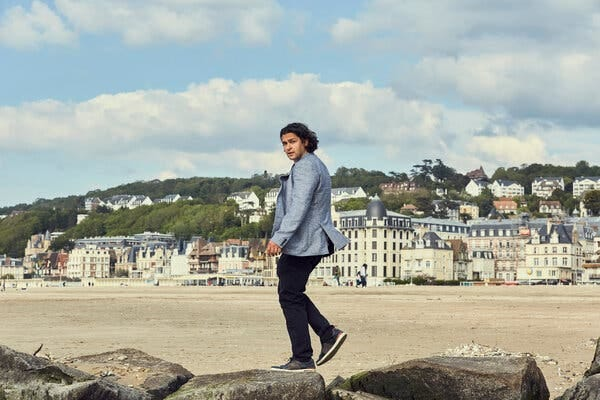 Mr. Skallas taking his constitutional in Trouville-sur-Mer, France, on May 28.
