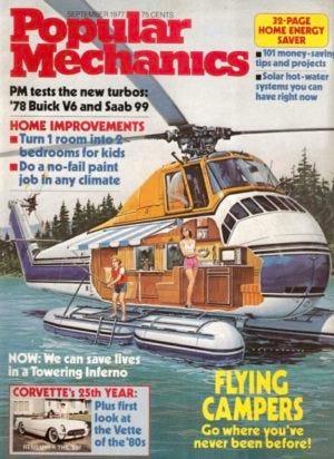 a 1977 popular mechanics cover showing winnebagos heli-home flying rv