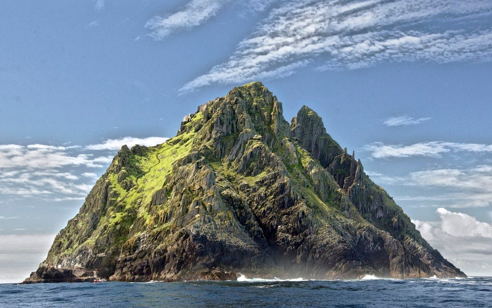 landscape photo of mountain island
