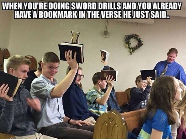 Sword drills #christian #memes | Christian jokes, Funny christian memes,  Christian memes