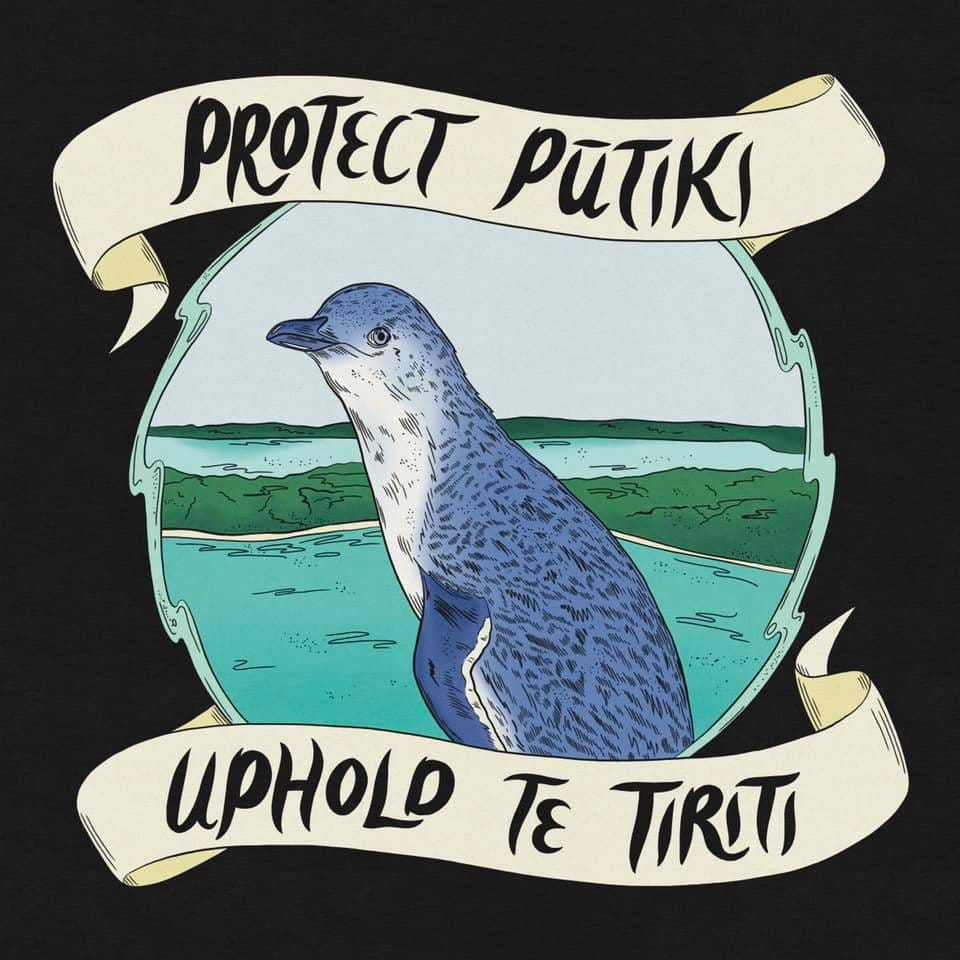 """Illustration of a little blue penguin (kororā) with a banner reading """"Protect Pūtiki"""" and """"Uphold Te Tiriti"""""""