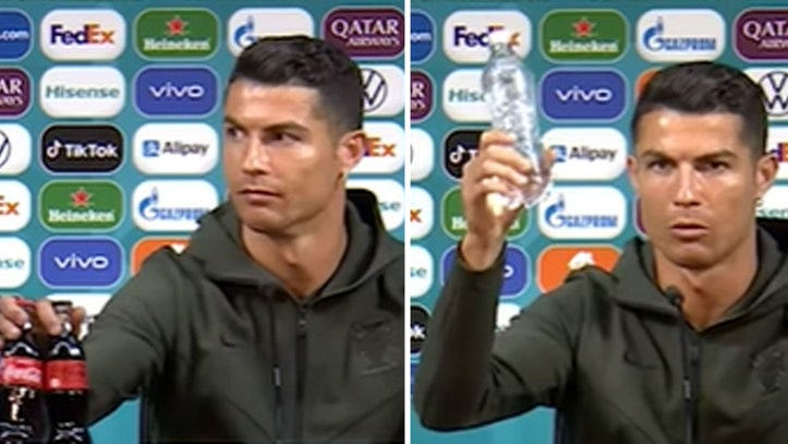 Euro 2021: Cristiano Ronaldo removes bottles of Coca Cola from his press  conference table... Will UEFA respond?   Marca