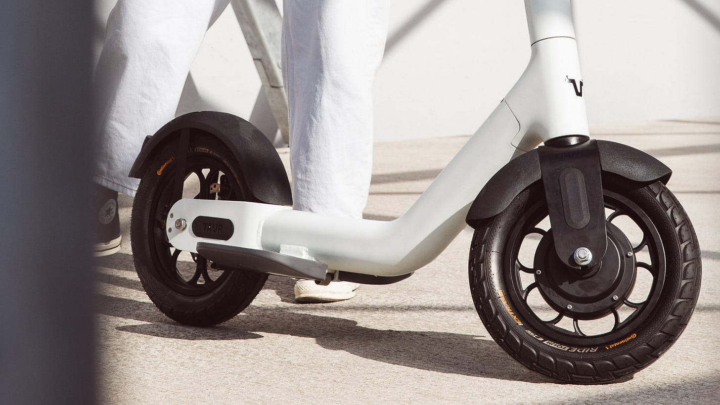 The Taur electric scooter prioritizes safety with giant tires and a forward  riding position