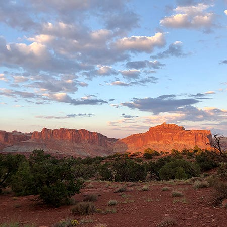 A still photo from Sunset Point at sunset in Capitol Reef National Park in Southern Utah.