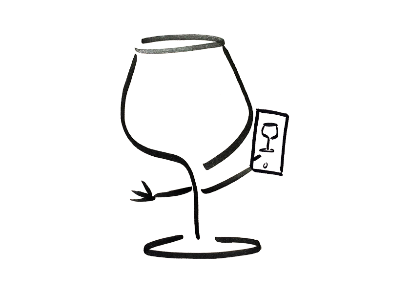 An anthropomorphic wine glass is taking a selfie