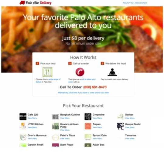 Image result for doordash original landing page