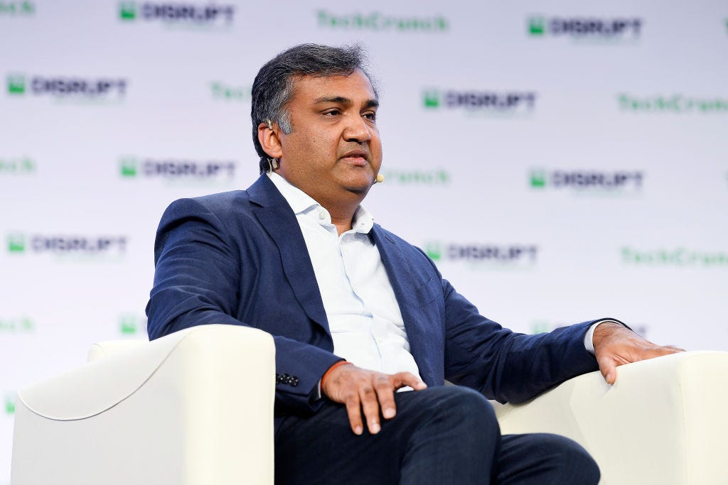 YouTube Chief Product Officer Neal Mohan speaks at TechCrunch Disrupt in San Francisco in 2019. (Steve Jennings / Getty Images)