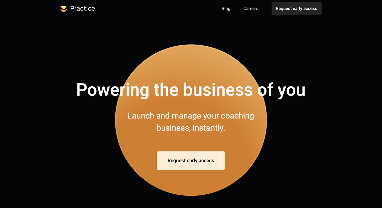 screen shot of the hero section of the landing page of practice.do