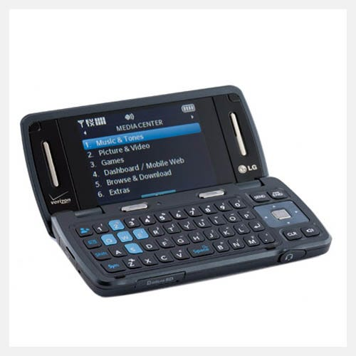 Photo of Env3 phone flipped open, showing a screen and QWERTY keyboard.