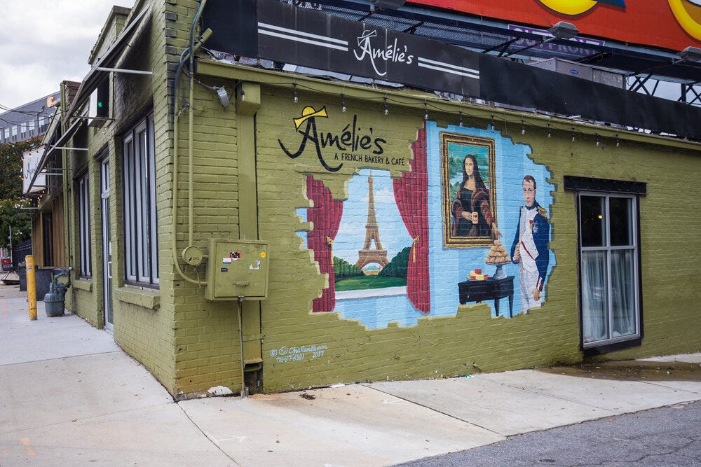 Another angle of the exterior of Amélie's.