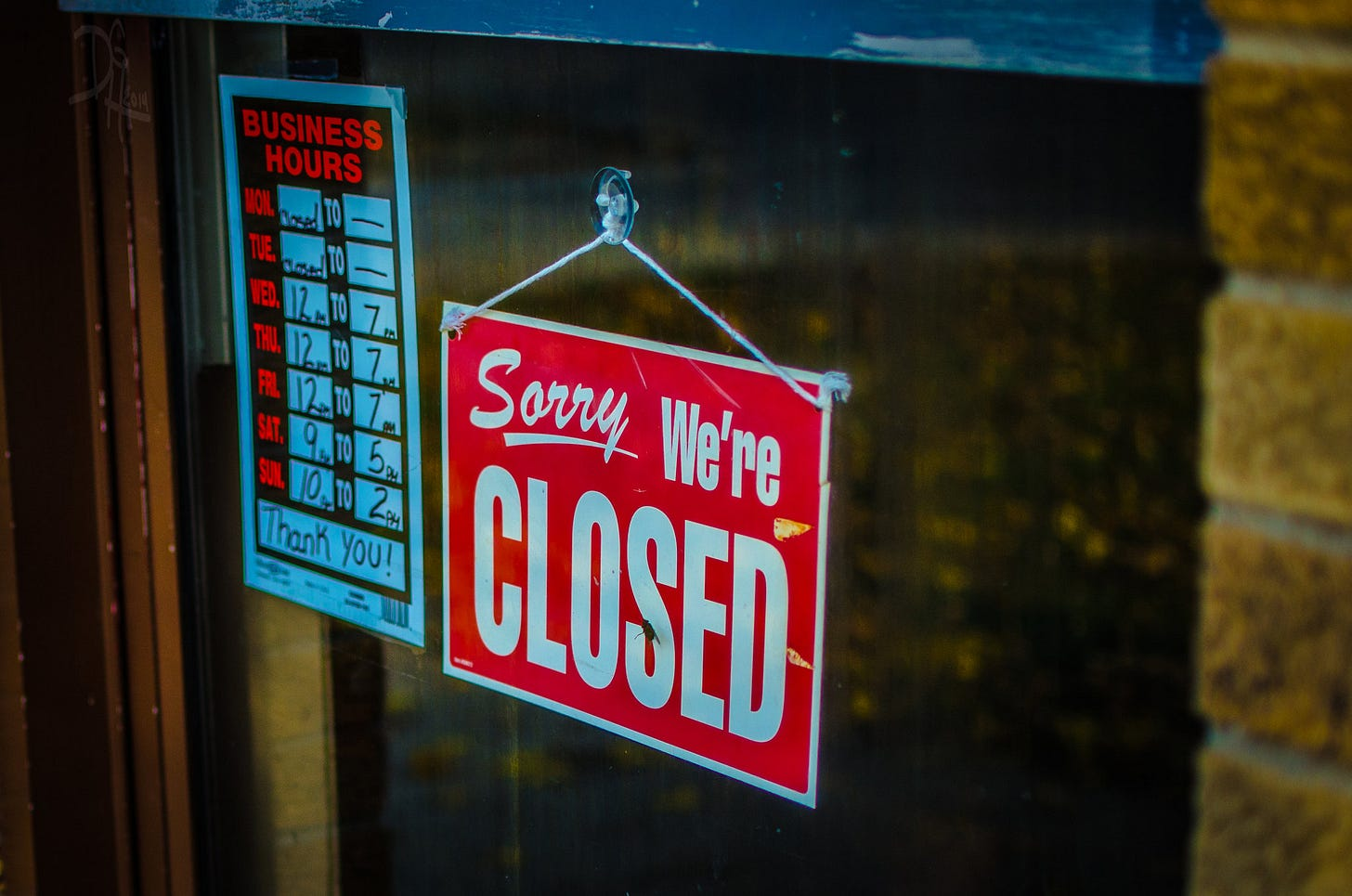 'Sorry, we're closed' sign