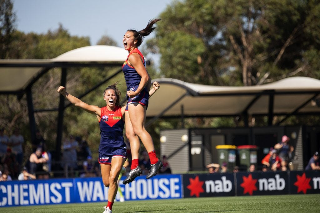 Brenna Tarrant kicked her first AFLW goal in Melbourne's semi final win over Fremantle this year. Image: Megan Brewer