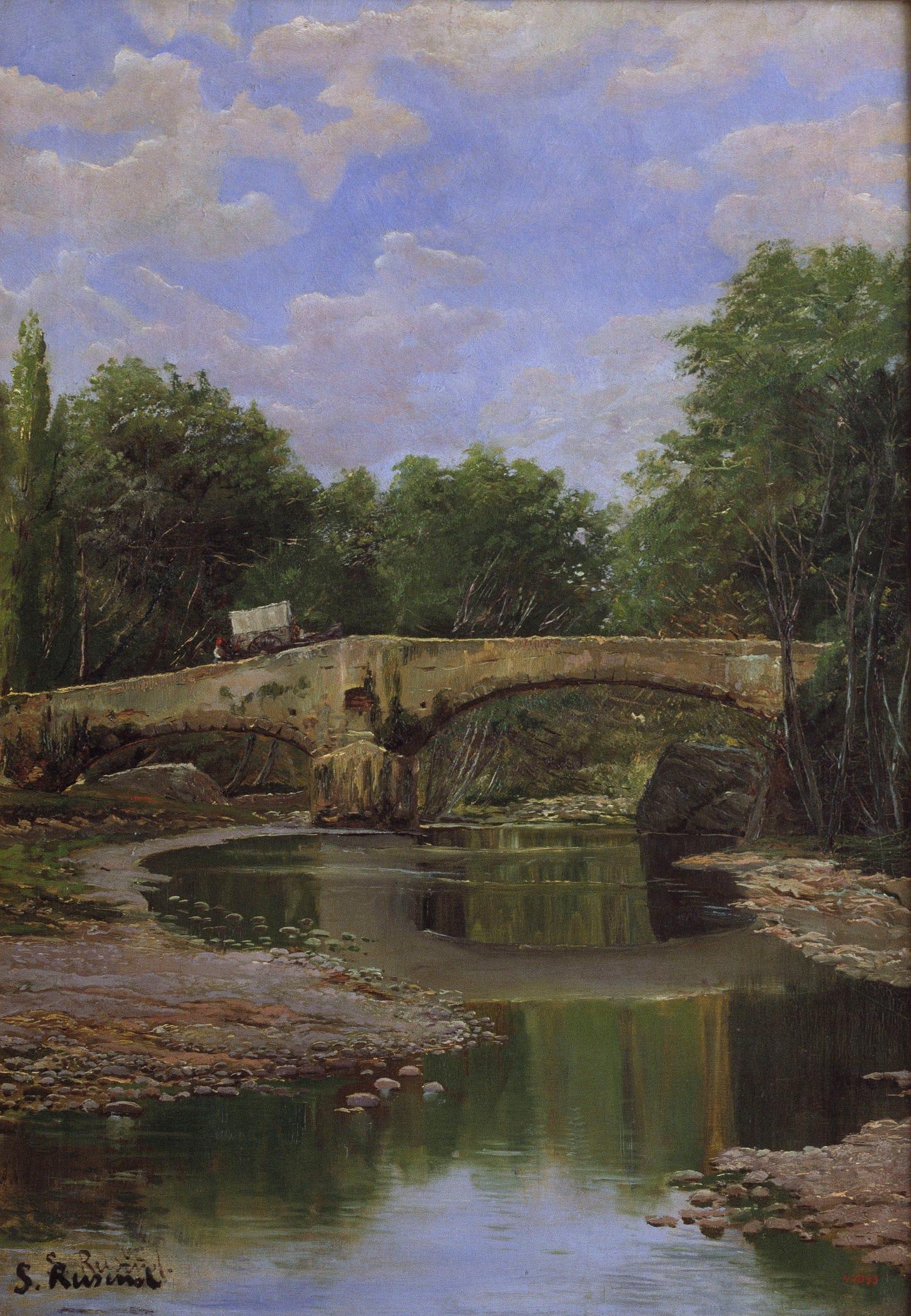 Santiago Rusiñol - Pont sobre un riu - Barcelona, Cap a 1884