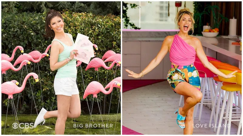 BB23 host Julie Chen Moonves and Love Island host Arielle Vandenberg in a promotional image released by CBS