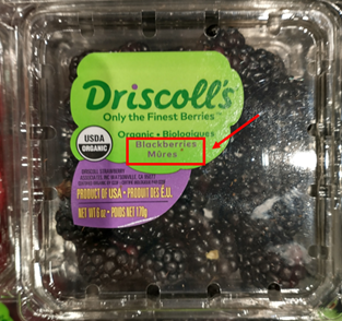 carton of blackberries, labeled in both english and french