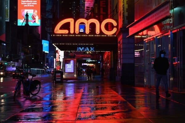 The closed AMC theater in Times Square. The specter of empty movie houses was haunting Hollywood well before the pandemic.