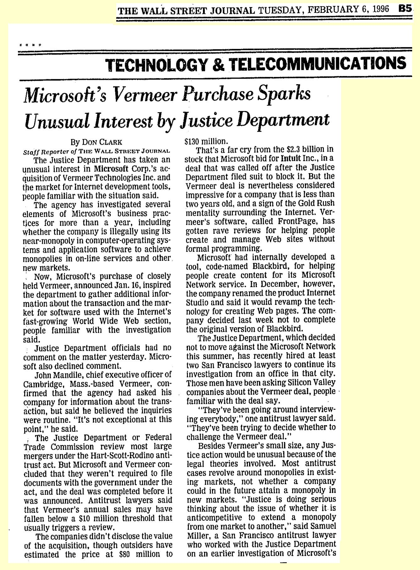 Microsoft's Vermeer Purchase Sparks Unusual Interest by Justice Department
