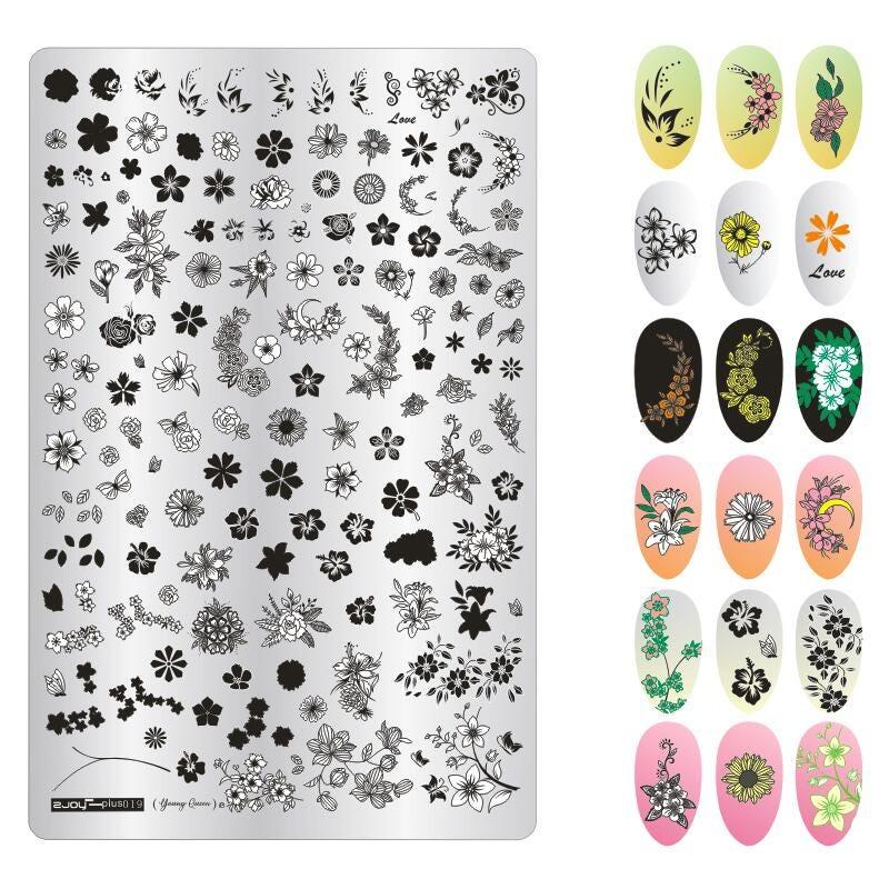 Nail Stamping Template 9.5*14.5cm Flower Mandala Flower Vine Boat Nail Art Stamping Plate Zjoy-Plus Stencil for Nail Art