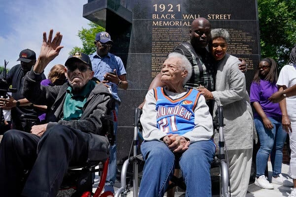 Two siblings who survived the Tulsa Race Massacre, Hughes Van Ellis and Viola Ford Fletcher, attended a rally in the city on Friday.