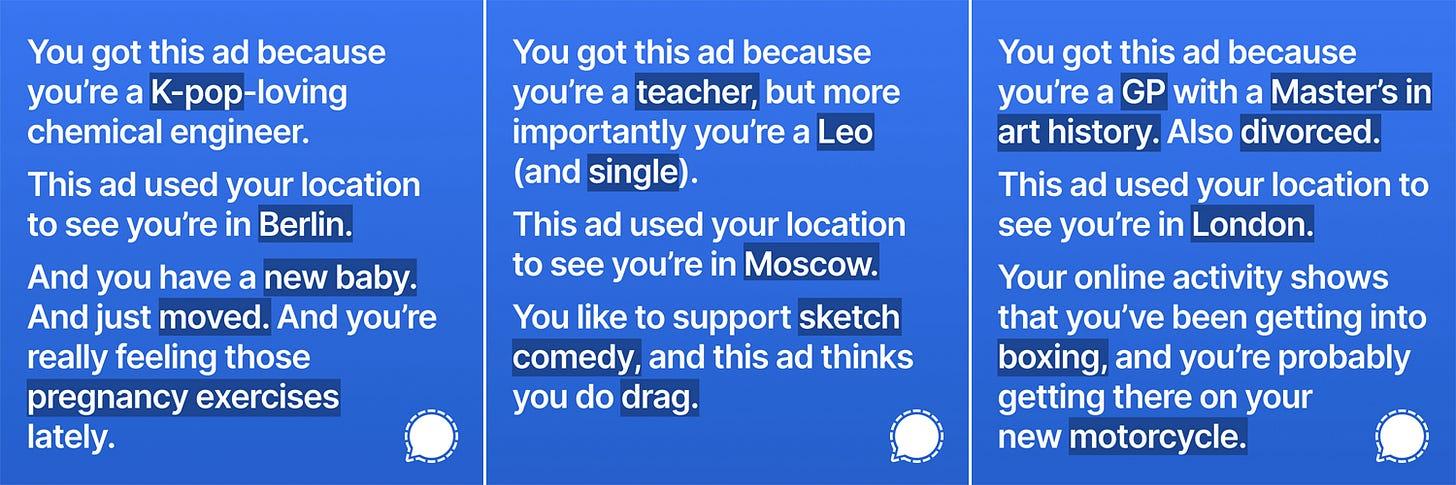 Screenshots of sample ads