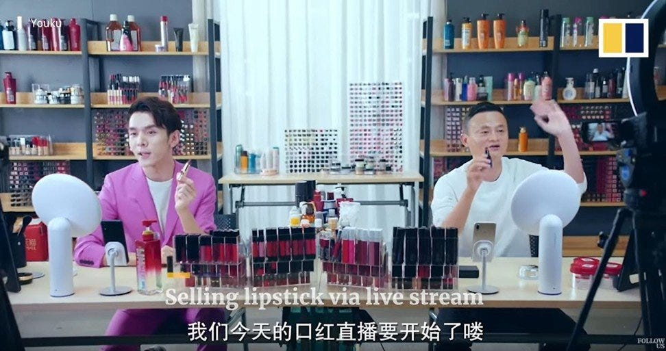 Li Jiaqi, with Alibaba's Jack Ma, managed to generate more than 1 billion yuan (US$145 million) of sales. Photo: Youku