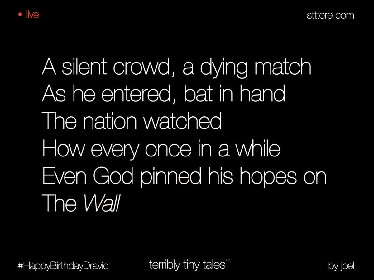 """TTT on Twitter: """"Joel Thottan writes on 'wall', suggested by Terribly Tiny  Tales #HappyBirthdayDravid #terriblytinytales #live https://t.co/3560WmrYV6"""""""