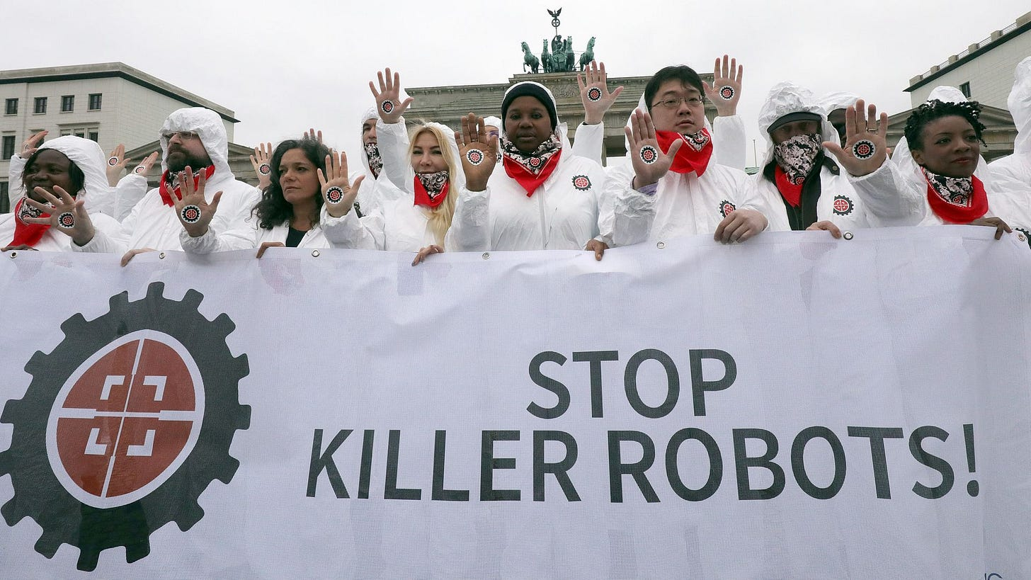 A rally in Berlin in 2019 to push for a ban on autonomous weapons.
