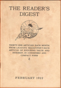 """Image of """"Reader's Digest"""" first issue, published Feb. 1922."""