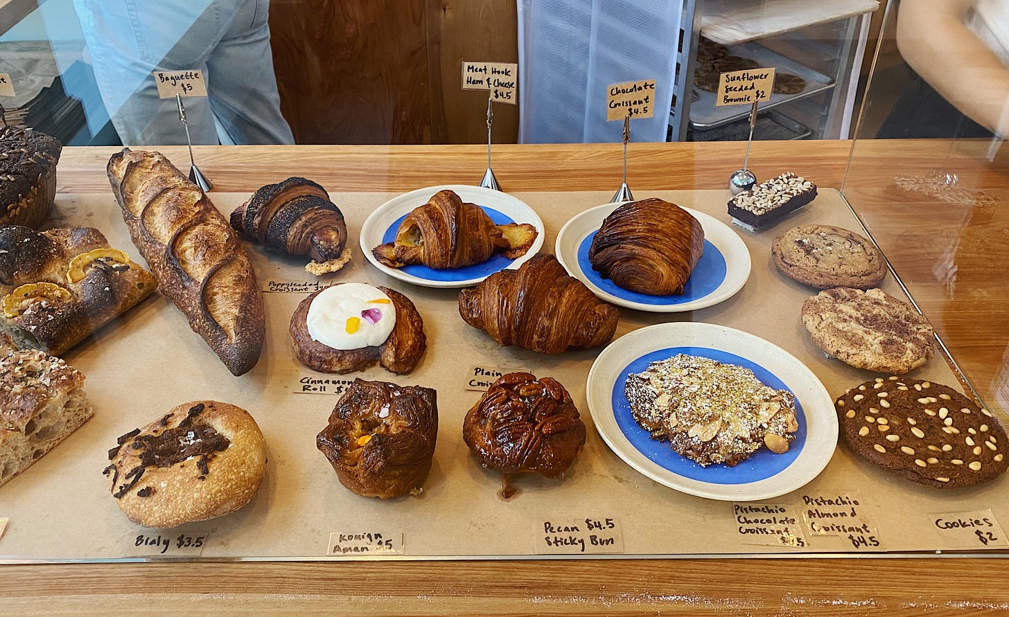 The pastry case at Mel