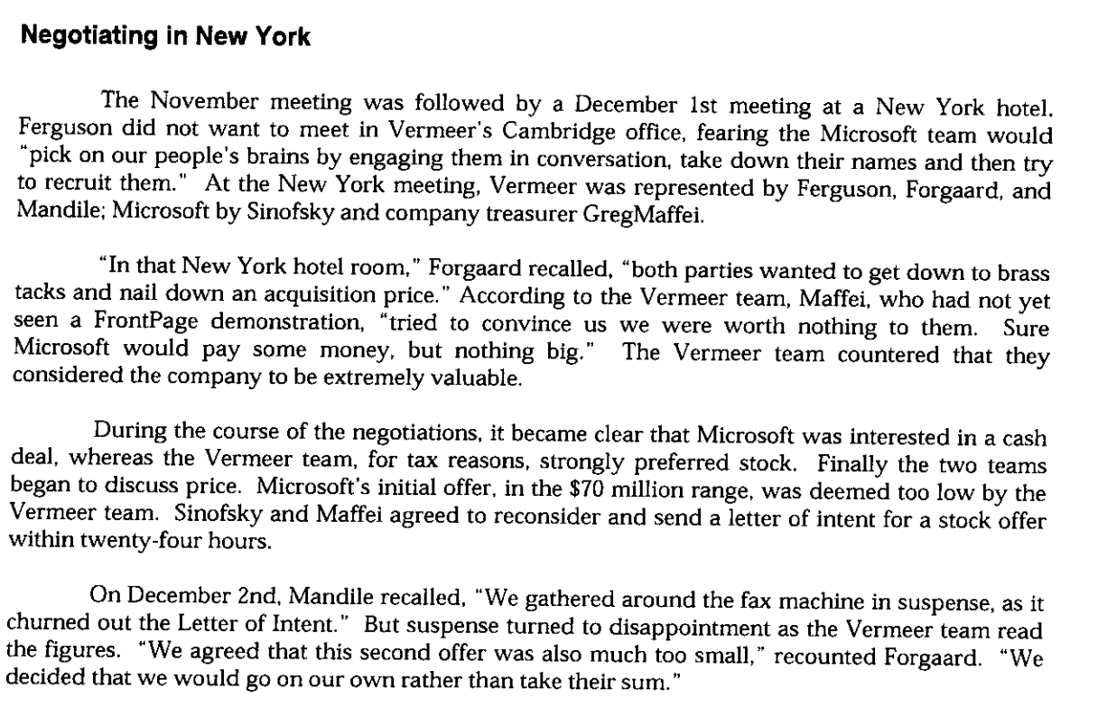 """From the HBS case a scanned section """"Negotiating in New York"""" offers some of the color commentary on the new york trip."""