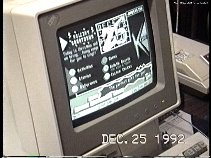 December 25, 1992 computer showing Prodigy Running
